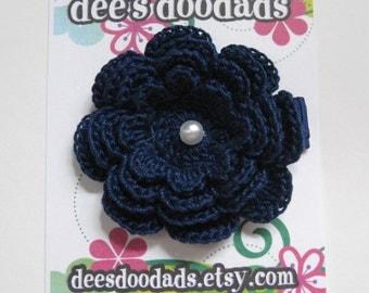 Navy Crochet Flower Hair Clip