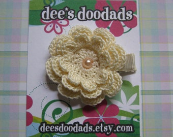 Cream Crochet Flower Hair Clip