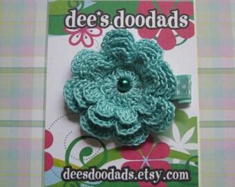 Aqua Crochet Flower Hair Clip