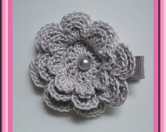 Silver Grey Crochet Flower Hair Clip
