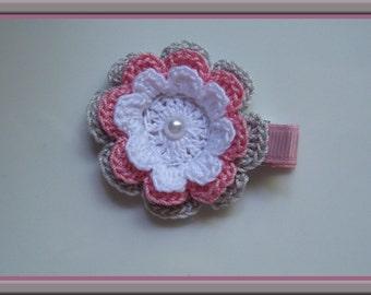White, Rose Pink & Grey Crochet Flower Hair Clip