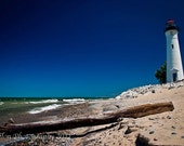 Michigan's Crisp Point Lighthouse and driftwood on a beautiful summer day color print