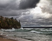 Lake Superior waves crashing on Michigan's Pictured Rocks from Miners Beach
