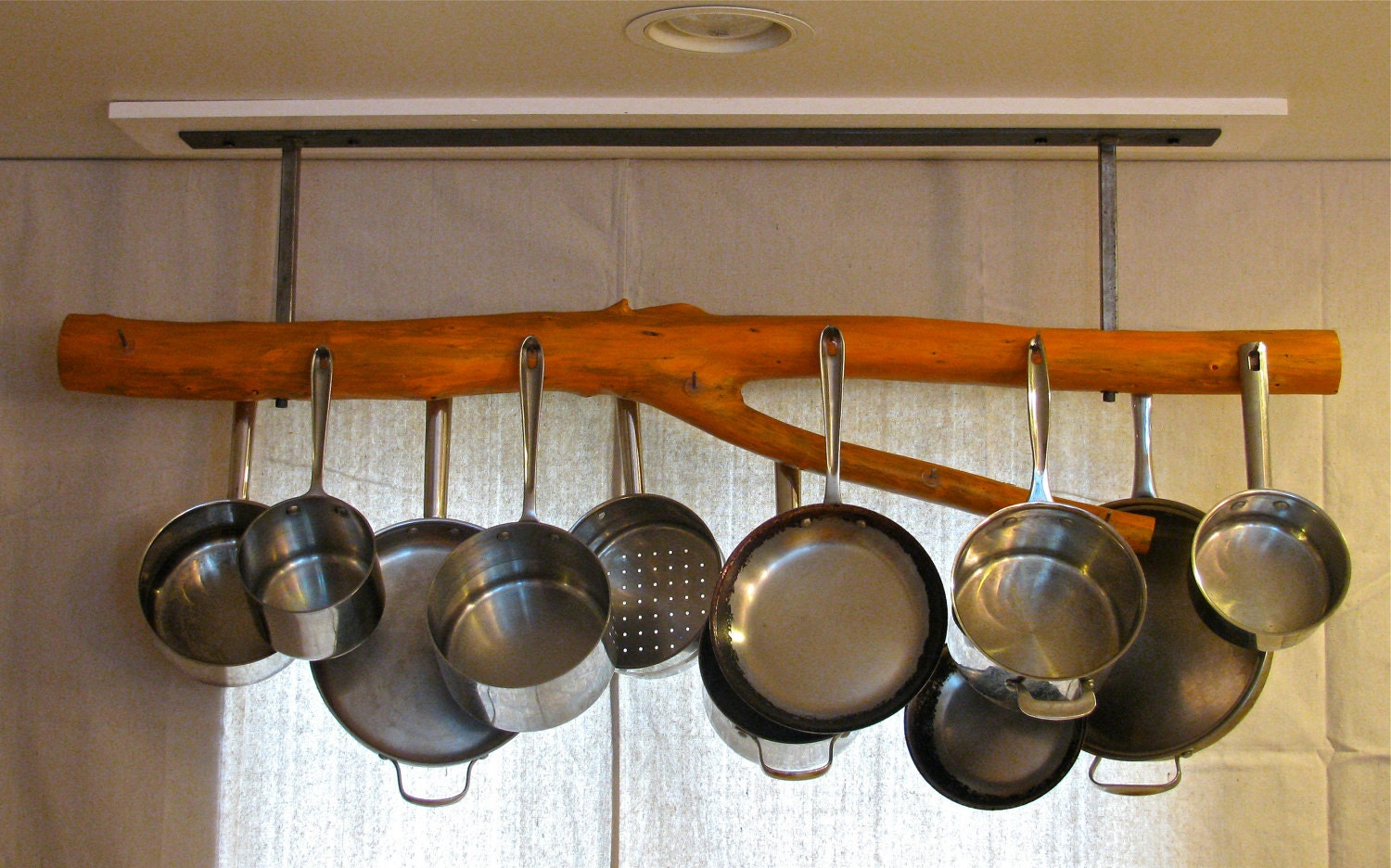 pot rack mid century reclaimed wood rustic by treemade on etsy