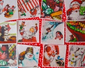 1 Inch Square Christmas Wafer Images for bite size treats- Rudolph, Santa and Children ONE DOZEN