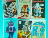 6 Vintage Sci Fi Robot Edible Image Wafer Papers for your iced cookies, fondant, cakes or chocolate