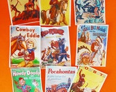 Vintage Cowboys and Indians Children's Book Cover edible image wafer paper for your iced sugar cookies, cake, fondant or chocolate