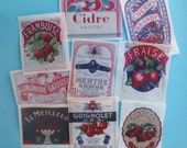 9 Large Cherry, Strawberry, Raspberry Vintage Label edible image wafer papers for your iced cookies, cake, chocolates