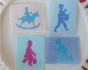 Little Boy Silhouette Edible Image Wafer Paper for cookies, cupcakes, chocolates and cakes