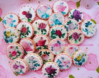 Edible Image VIntage Roses Wafer Paper for Cookies, Cupcakes, Chocolate and Cakes