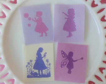 Little Girl Silhouette Edible Image Wafer Paper for cookies, cupcakes, chocolate and cakes