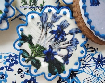 Blue and White Floral Wafer Papers - Vintage Botanicals