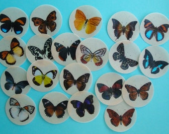 Round Butterfly Edible Image Wafer Paper 1.5 Inch circles