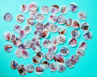 Peter Rabbit Beatrix Potter Mini circle edible image wafer papers for your cookies, cupcakes, chocolate, fondant and cakes