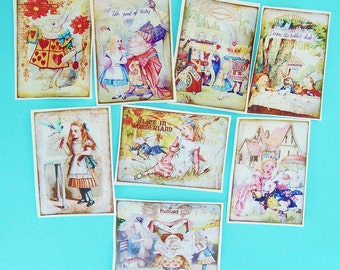 Detailed 8 Alice in Wonderland Edible Image Wafer Paper for your iced cookies, fondant, cakes or chocolate