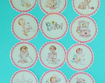 1 Dozen Baby Girl Edible Image Wafer Paper for your iced cookies, cupcakes, cake, chocolate or fondant