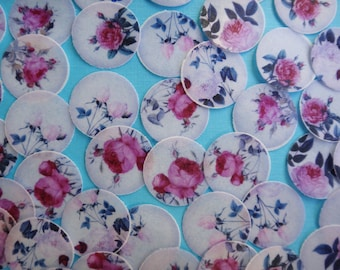 """Shabby Chic Vintage Roses 1"""" edible wafer paper for your iced cookies, cupcakes, chocolates, cakes"""
