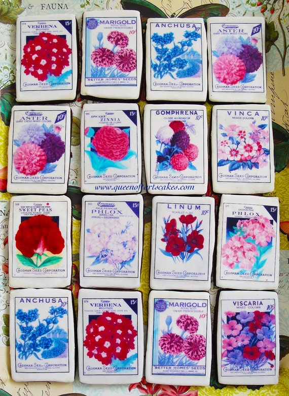 Vintage Seed Packet Floral edible image wafer paper for cookies, cakes, chocolates