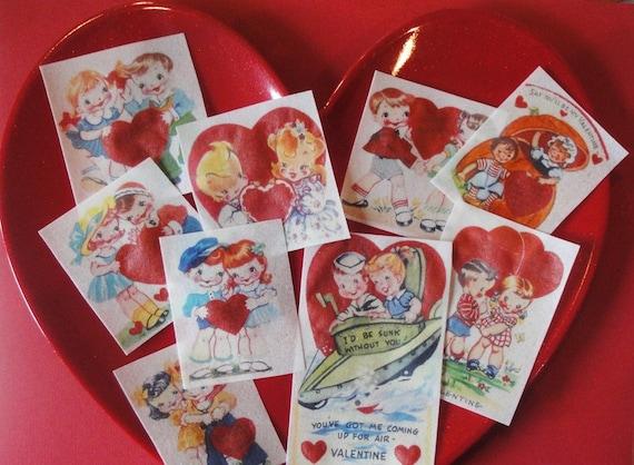 Vintage 1950's Valentine Card Edible Image Wafer Paper