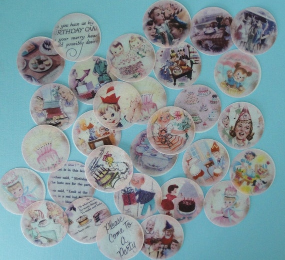 Vintage Birthday Party edible image wafer papers for cookies, fondant cupcake toppers, chocolates or your cake