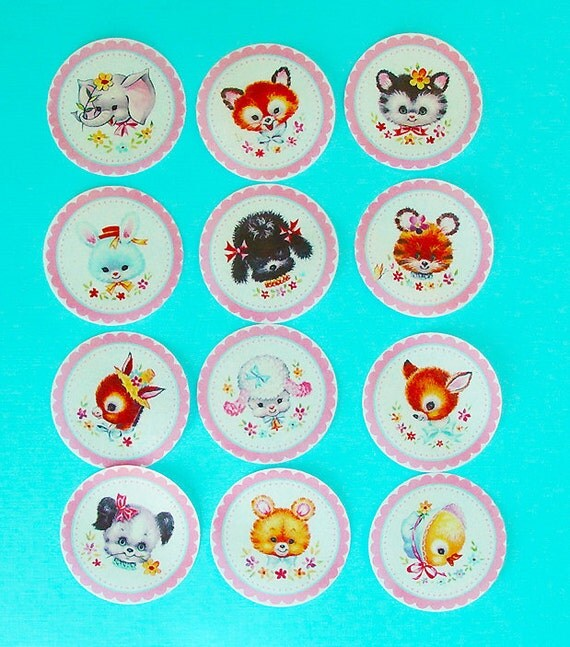 Vintage Baby Animal Baby Shower Edible Image wafer paper for your cookies, cupcake toppers, fondant and chocolate