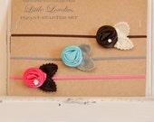 Baby Headband Starter Set, Bright Set, Hot Pink, Blue, and Brown