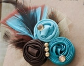 Brown, Teal and Aqua Rosette with Beautiful Gold Beads and Feather Backing