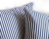 Summer Nautical Trend - Two Navy Blue Stripe Decorative Cotton Canvas Pillow Cushion Cover - 18 x 18 inches