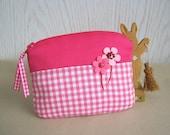 Zipper Pouch Soft Pink Small Lovely Felt Flower Applique (PH83)
