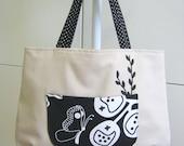 Large Bag Cream Color Creative white black design print Double Shoulder Straps OOAK (BG27)