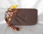 Zipper Gathered Wristlet Detachable Strap Pink Polka Dots on Brown (WL26)