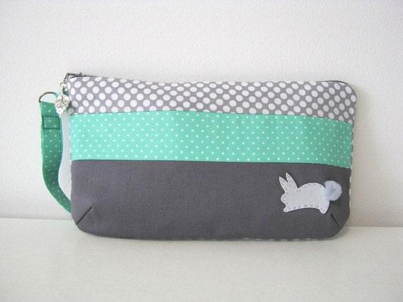 Clutch Grey Bunny Aqua Green Polka Dots (CL13)