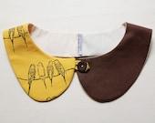 peterpan collar - birds - Mustard and Brown - LAST ONE
