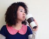 peterpan collar - classic red polka dot - washing linen cotton