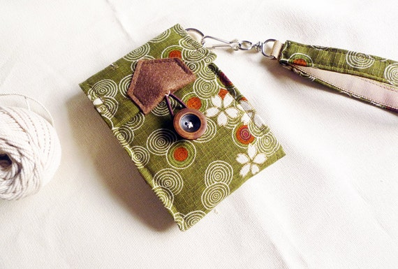 ipod/iphone wallet - Japanese sakura on olive - strap not include