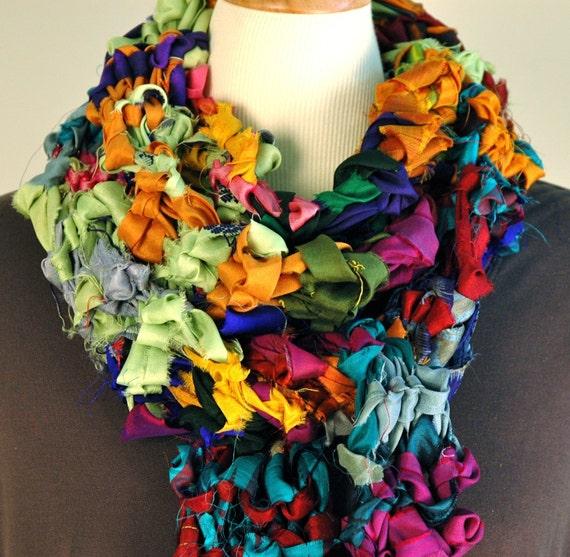 Gypsy. Very Colorful Recycled Sari Silk Ribbon Scarf
