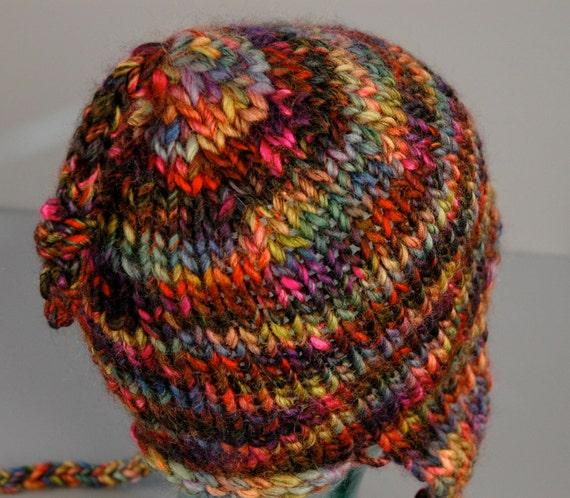 Earflap Hat. Hand Spun and Knit Aritsan Yarn