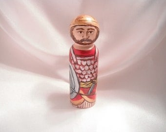 Joshua of the Old Testament - Catholic Saint Wooden Peg Doll Toy - made to order