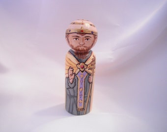 Saint Leo the Great - Catholic Saint Wooden Peg Doll Toy - made to order