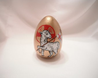 Lamb of God gold painted egg - made to order