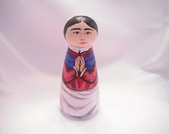 Saint Bernadette of Lourdes - Catholic Saint Wooden Peg Doll Toy - made to order