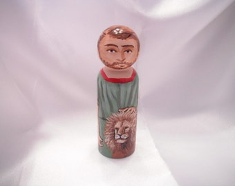 Daniel the Prophet - Catholic Saint Wooden Peg Doll Toy - made to order