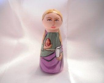 Saint Mary Magdalene - Catholic Saint Wooden Peg Doll Toy- made to order