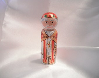 Saint Nicholas - Catholic Saint Wooden Peg Doll Toy - made to order