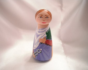 Saint Apollonia Wooden Doll and baby teeth box - Catholic Saint Wooden Peg Doll Toy - made to order