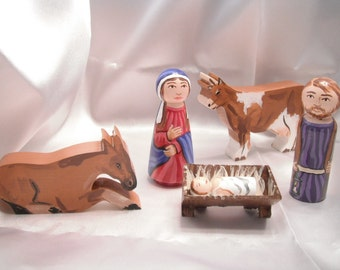 Children's Nativity Wooden Doll Playset including Mary, Joseph, Jesus, Donkey and Cow - made to order