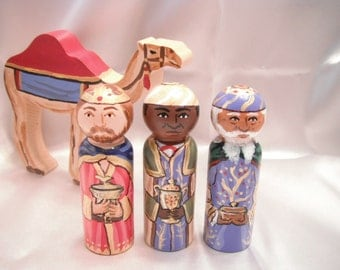 Children's Nativity Wooden Doll Playset including 3 Magi and Camel - made to order