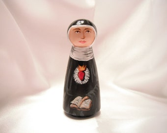 St. Gertrude of Helfta - Catholic Saint Wooden Peg Doll Toy - made to order
