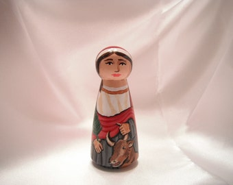 Saint Felicity - Catholic Saint Wooden Peg Doll Toy - made to order