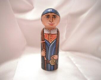 Saint Thomas More - Catholic Saint Wooden Peg Doll Toy - made to order